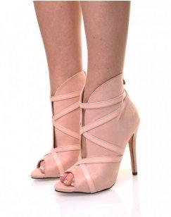 Sandales roses en suédine lanières croisées