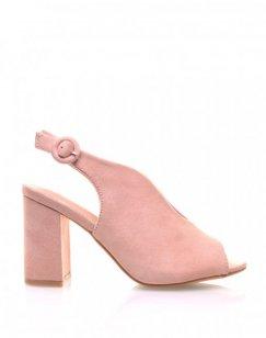 Sandales roses en suédine ouvertes