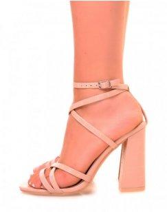 Sandales roses nude effet croco à multiples lanières entrecroisées