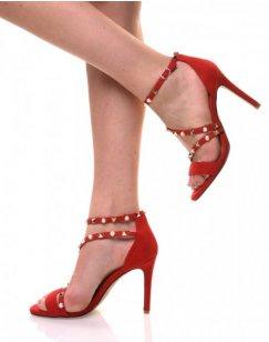 Sandales rouges en suédine brides cloutées