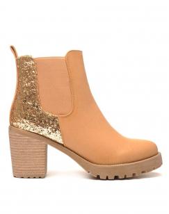 Sublimes Chelsea boots beiges à talons et paillettes