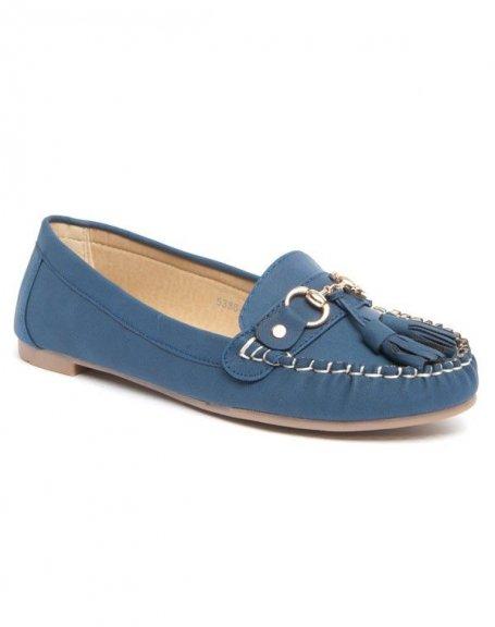 Ballerine Like Style bleue avec boucle et pompons