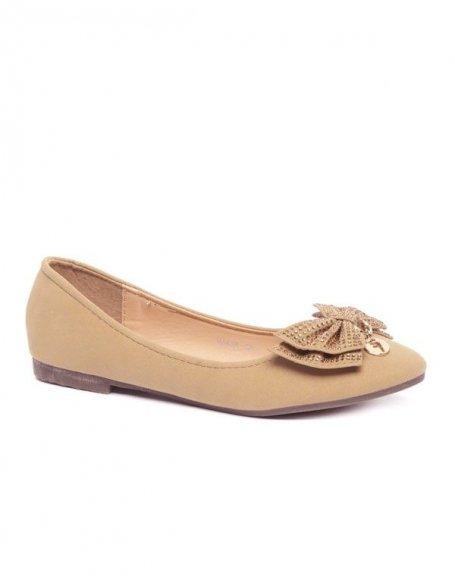 Ballerines à noeud strassé beige Style Shoes