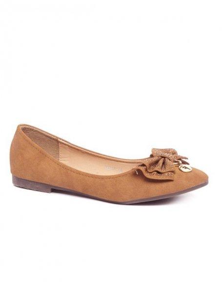 Ballerines à noeud strassé camel Style Shoes