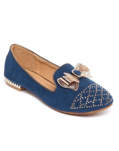 Ballerines bleu motif noeuds clous et perles