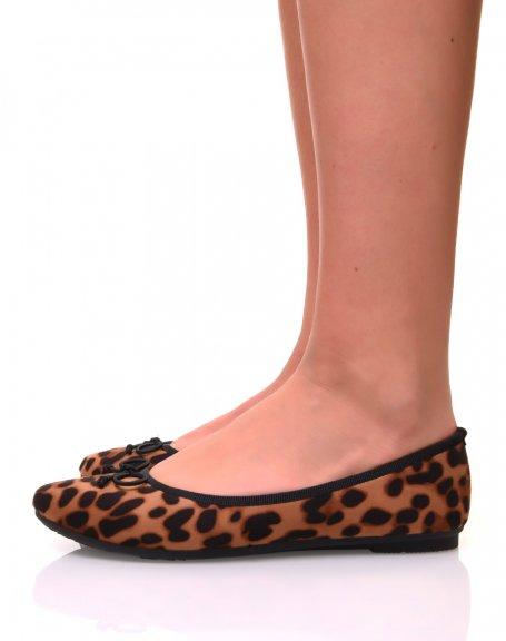 Ballerines effet léopard à petits noeuds
