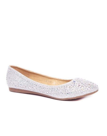 Ballerines femme argentées avec paillettes et strass Style Shoes