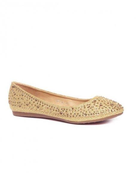 Ballerines femme dorées avec paillettes et strass Style Shoes