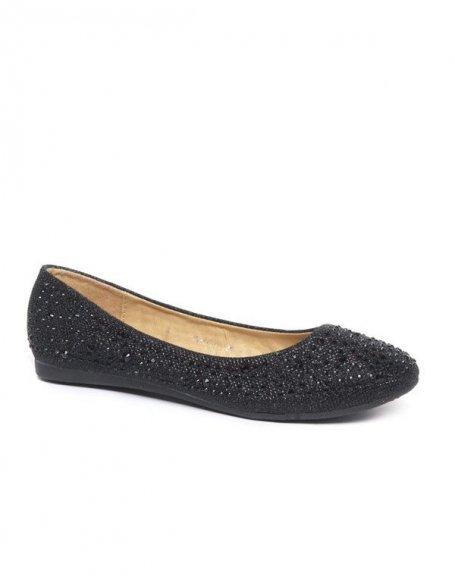 Ballerines femme noires avec paillettes et strass Style Shoes