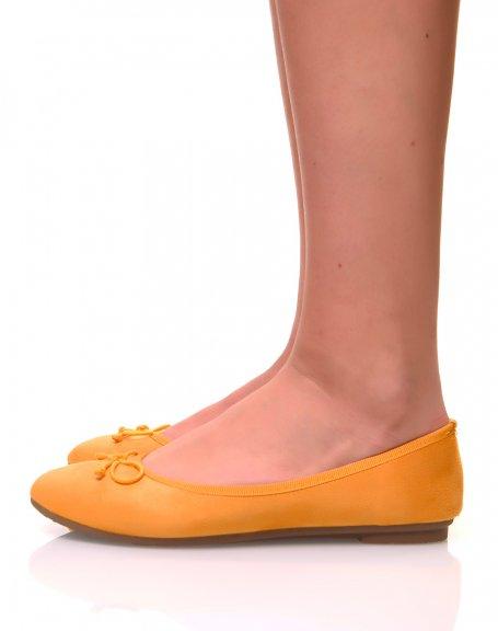 Ballerines jaunes en suédine à petits noeuds