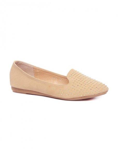 Ballerines slipper cloutées beiges Style Shoes