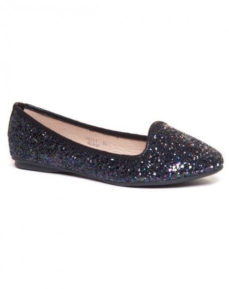 Ballerines slippers noires à paillettes