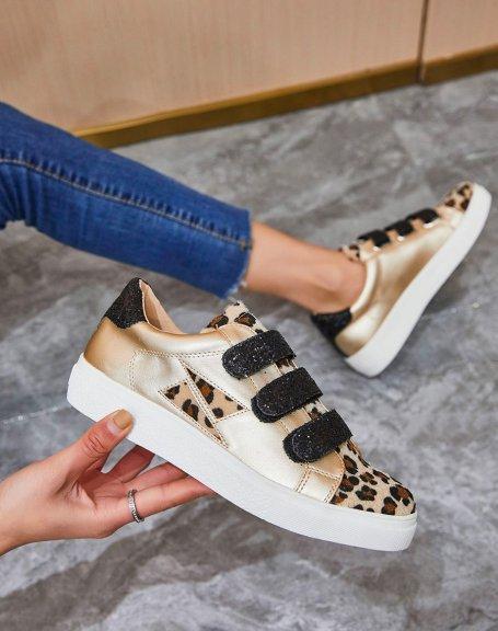 Basket beige bi-matière léopard