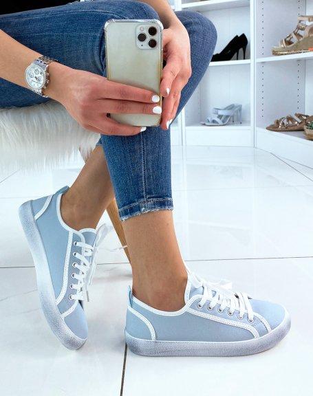 Basket bleu pastel et blanche en tissu