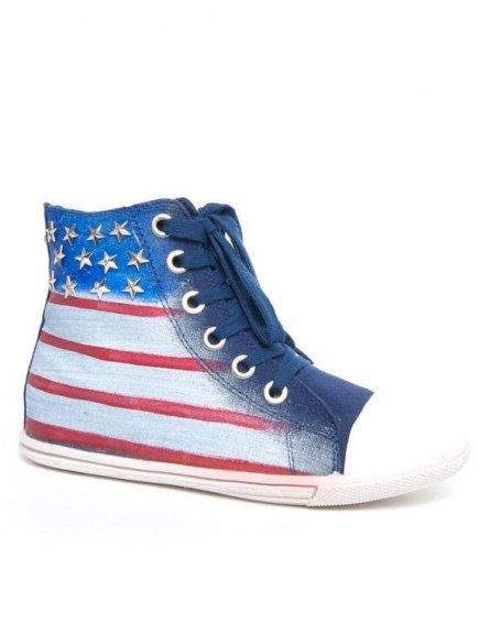 Basket bleue Jennika drapeau américain à clous étoilés