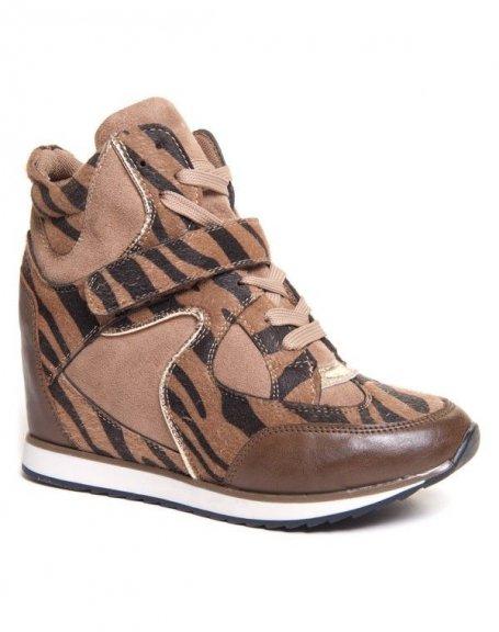 Basket femme Marietta's marron léopard compensée