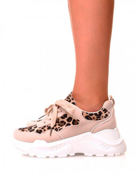 Basket leopard à plateforme
