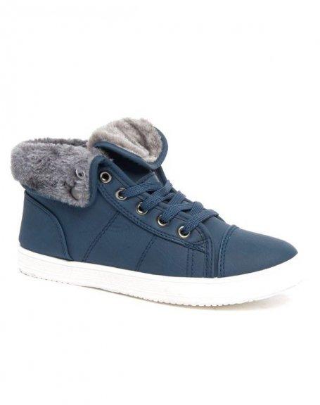Basket Style Shoes doublure fourré bleu