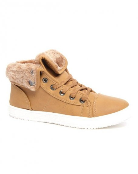 Basket Style Shoes doublure fourré camel