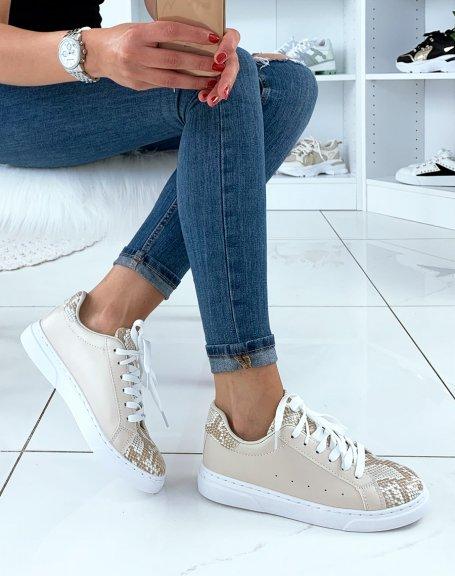 Baskets beige snakeskin