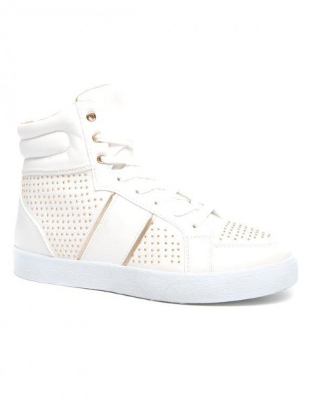 Baskets blanches cloutées Alicia Shoes doublure or