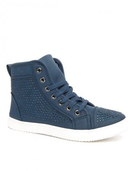 Baskets bleues Style Shoes à strass et semelle blanche