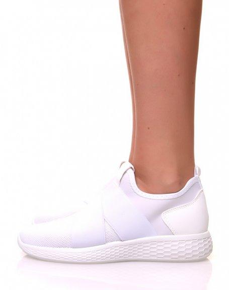 Baskets effet chaussette en toile blanche pailletée