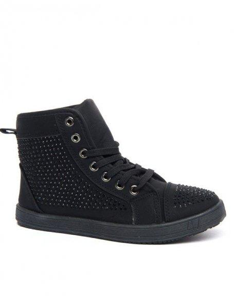 Baskets noires Style Shoes à strass et semelle noire