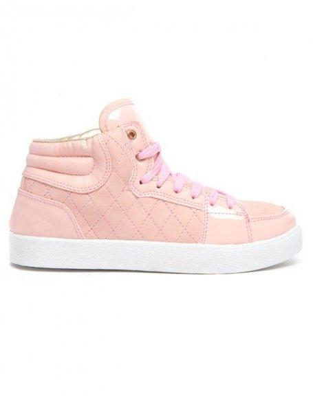 Baskets roses Alicia Shoes surface vernie et capitonnée