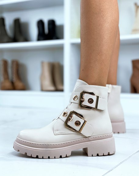 Beige ankle boots with double straps