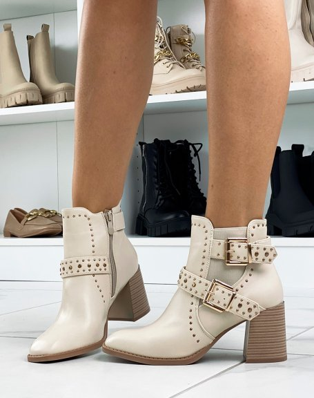 Beige studded ankle boots with heel and square toe