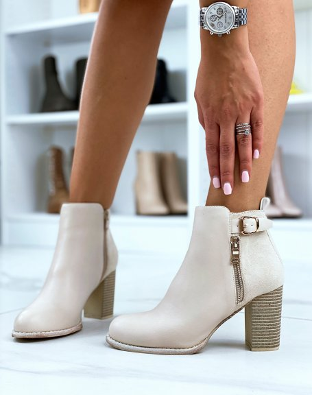 Bi-material beige heeled ankle boots with strap