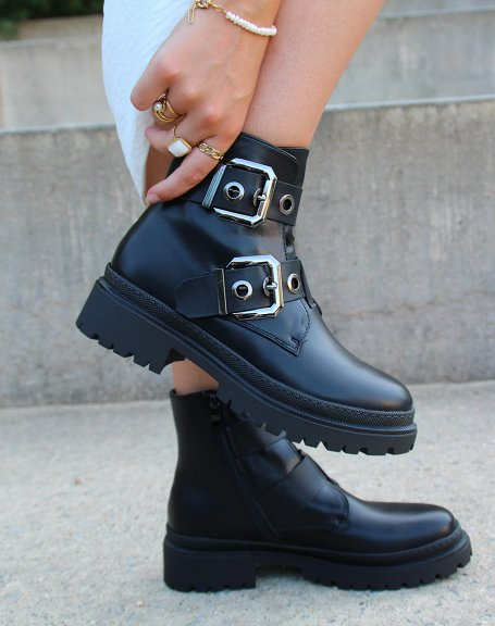 Black ankle boots with double straps