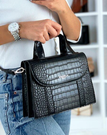 Black croc-effect double-opening trapeze handbag