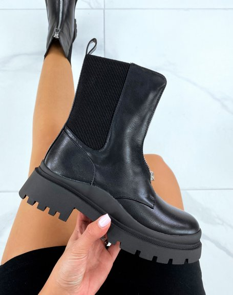 Black high ankle boots with zip and elastic