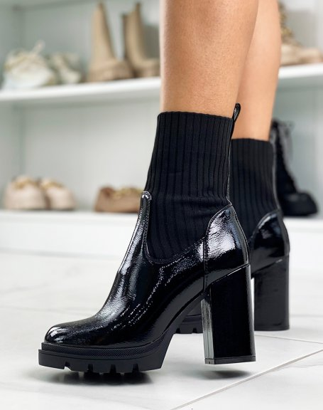 Black patent sock-effect heeled ankle boots