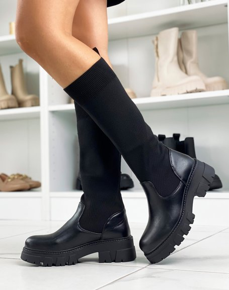 Black sock Chelsea boots with lug sole
