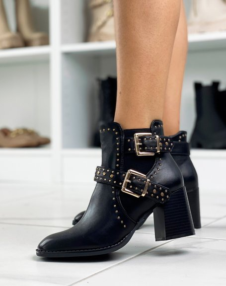 Black studded ankle boots with heel and square toe
