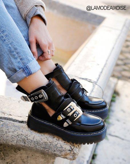 Boots à plateforme noire à multiples sangles