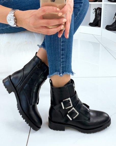Boots noirs à talon à multiple sangles