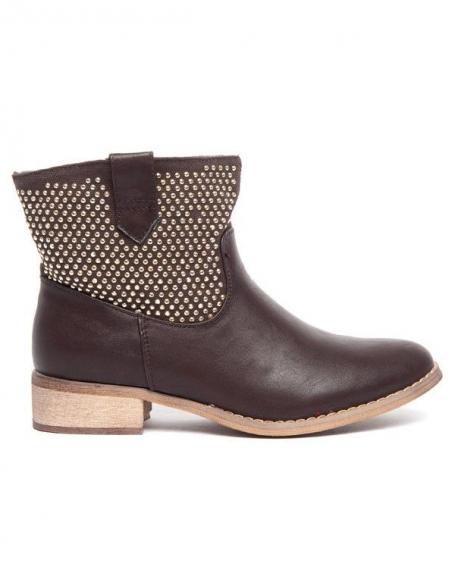 Botte Alicia Shoes marron à strass , double matières, style cavalier