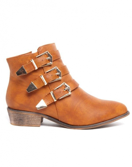 Botte basse Alicia Shoes camel, 3 brides à boucles dorées