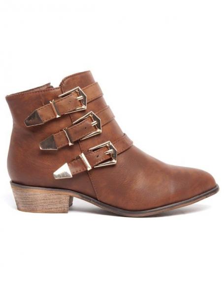 Botte basse Alicia Shoes marron, 3 brides à boucles dorées