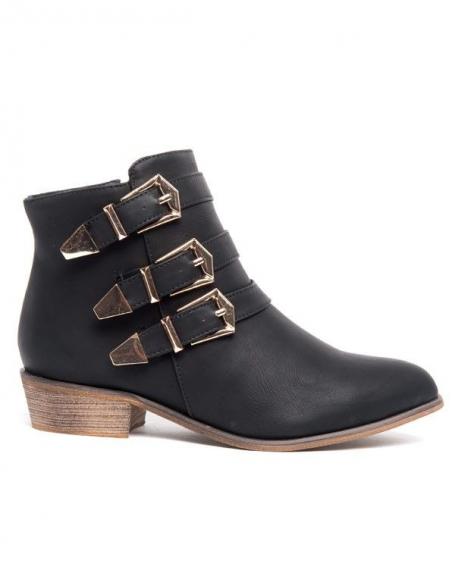 Botte basse Alicia Shoes noire, 3 brides à boucles dorées