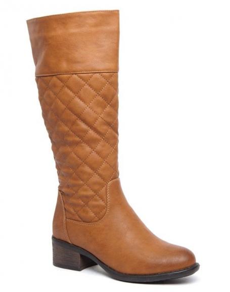 Botte cuissarde Alicia Shoes camel, partie supérieure matelassée