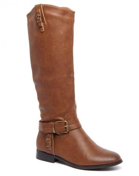 Botte cuissarde Alicia Shoes marron, brides style cavalier à boucle patinée