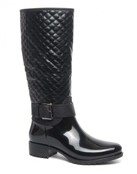 Botte de pluie à boucle type cavalier Ideal noir