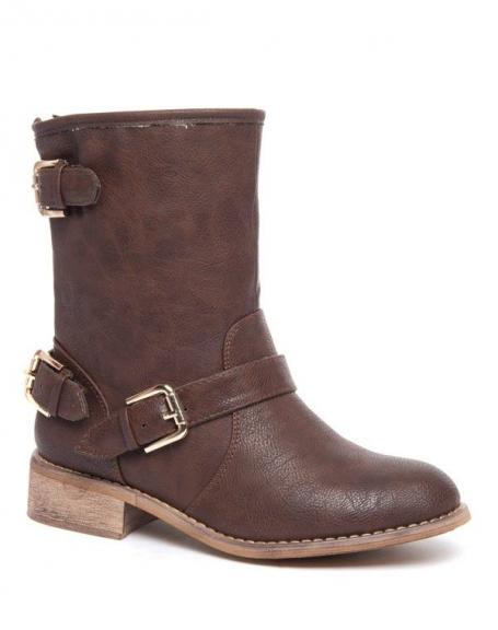 Botte fourrée vintage Alicia Shoes à boucles marron