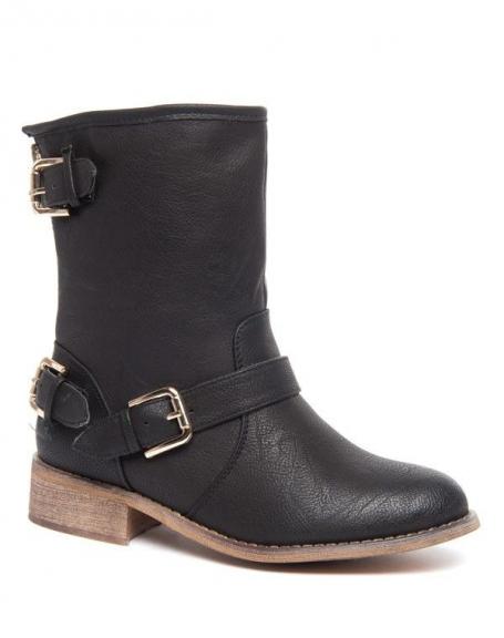 Botte fourrée vintage Alicia Shoes à boucles noir