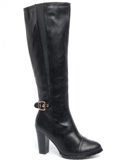 Botte haute Ideal noire à talon bottier et bande stretch